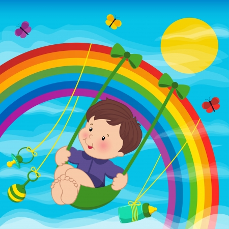 Baby swinging on a swing hanging from a rainbow  Vector
