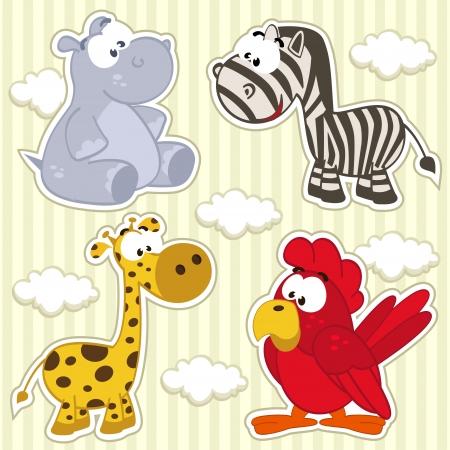 icon set animal  hippo, giraffe, zebra, parrot  Illustration