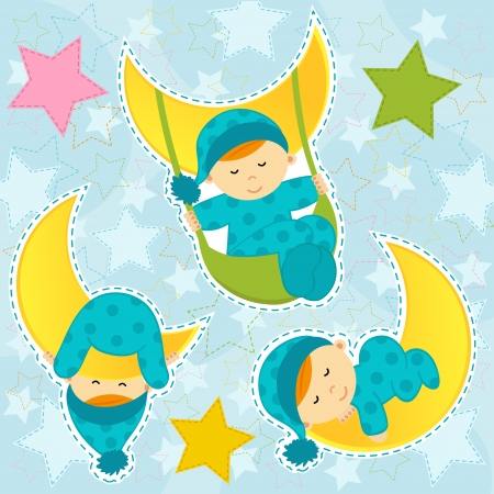 set icon baby boy sleeping  Vector