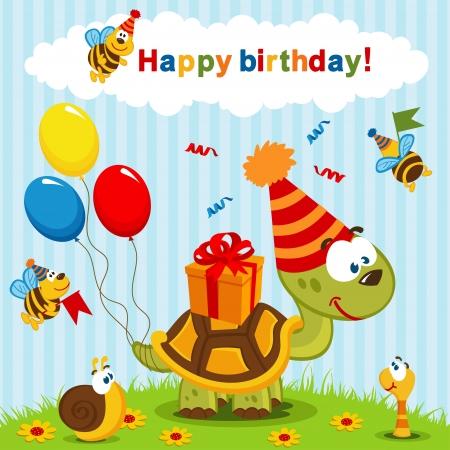 tortuga caricatura: celebración del cumpleaños de la tortuga Vectores