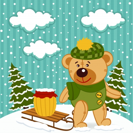 teddy bear winter - vector illustration Vector