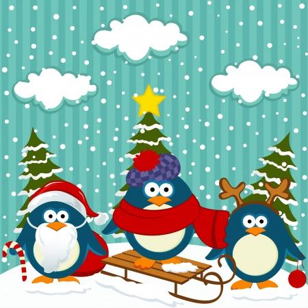 toy sack: Ping�inos de Navidad de invierno - ilustraci�n vectorial