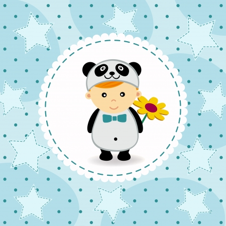 baby boy in suit of panda - vector illustration Vector