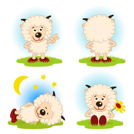 sheep  in a variety of actions  - vector illustration Vector