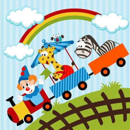 prato e cielo: clown e animali che viaggiano in treno - illustrazione vettoriale