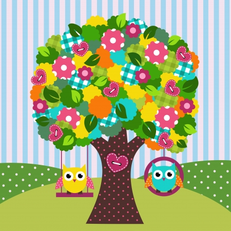 beautiful tree with owls on swings - vector illustration Vector