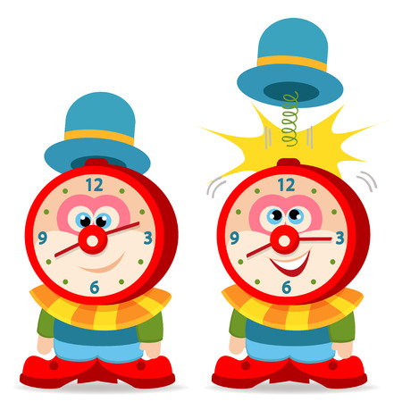 active arrow: clown alarm clock - vector illustration