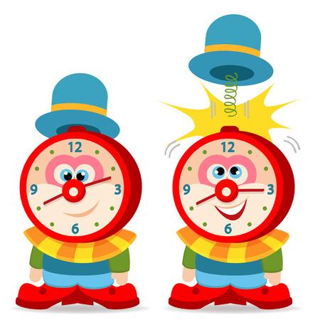 clown alarm clock - vector illustration