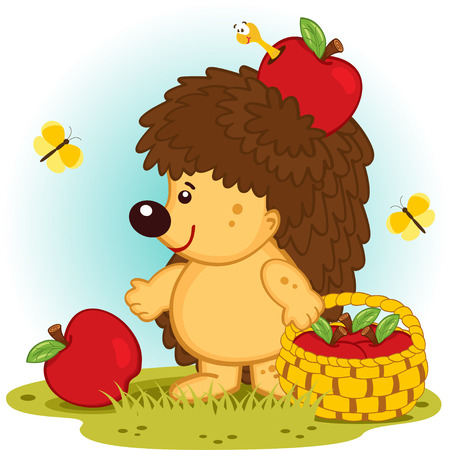 hedgehog with basket of apples - vector illustration  Vector