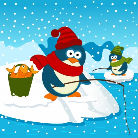 Penguins are on fishing - vector illustration Vector