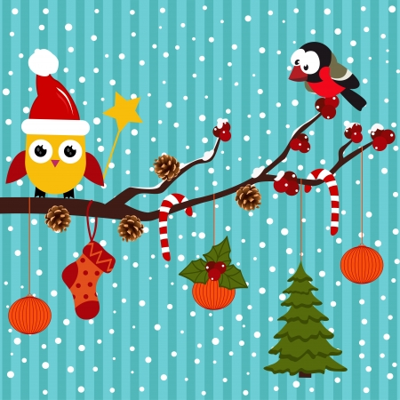 Birds are celebrating Christmas in the forest -  vector illustration Vector