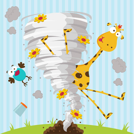 catastrophic: giraffe bird and tornado - vector illustration Illustration