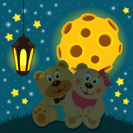 bears under the moon -  vector illustration Vector
