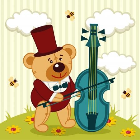 baby bear cartoon: teddy bear playing on cello - vector illustration