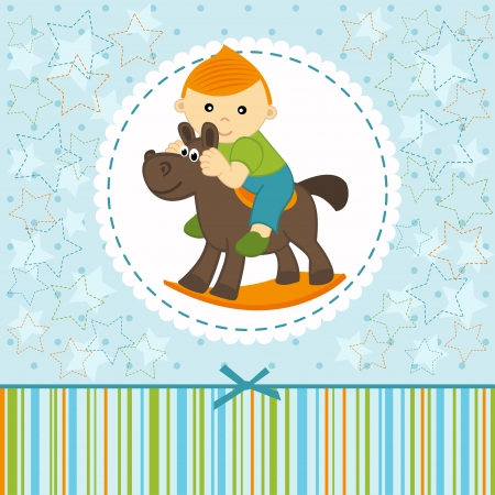 baby boy riding on the horse - vector illustration Vector