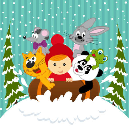 sledging: boy and animals together sledging - vector illustration