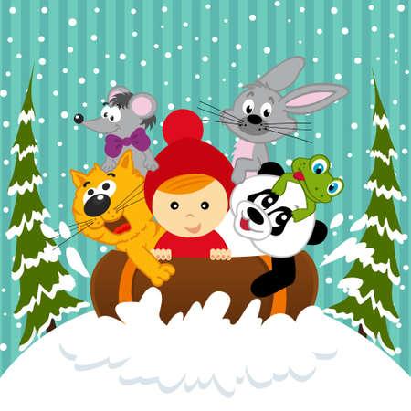 sledging: ragazzo e gli animali insieme slittino - illustrazione vettoriale