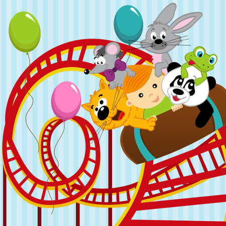 roller coaster: roller coaster boy and animals - vector illustration
