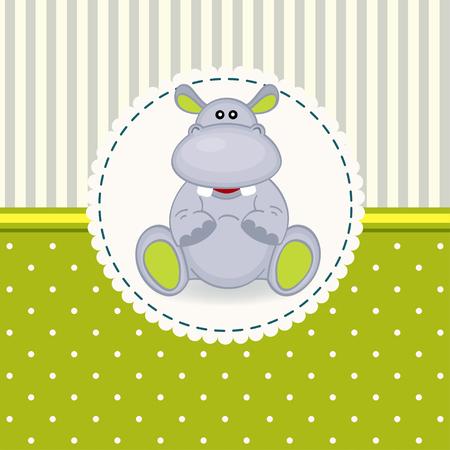 pequeño bebé hipopótamo - ilustración vectorial