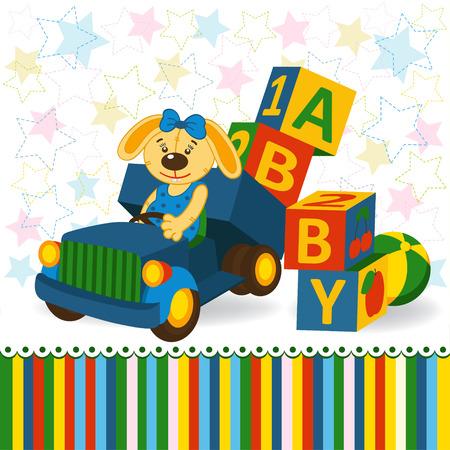 rabbit on truck unload baby blocks  - vector illustration