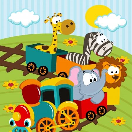 jirafa caricatura: animales en tren - ilustraci�n vectorial
