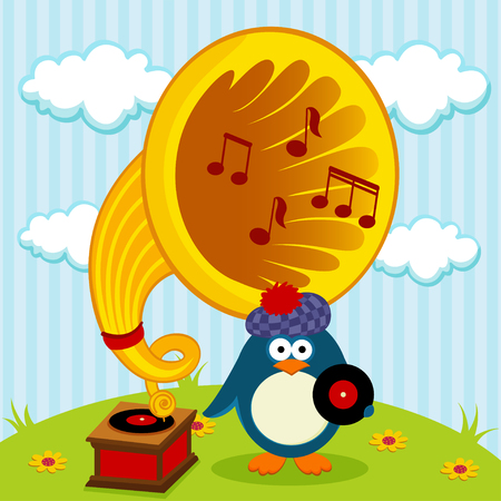 penguin with a gramophone - vector illustration