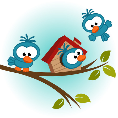 bird on tree - vector illustration Vector