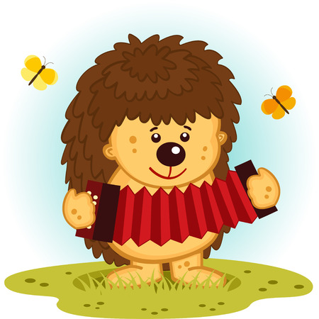 hedgehog with accordion - vector  illustration Vector