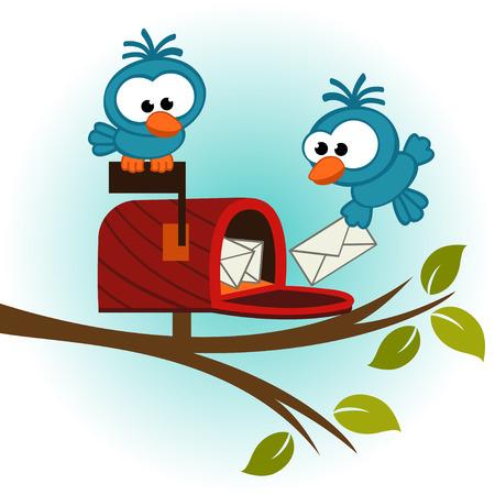 buzon: aves y buzón con correo - ilustración vectorial