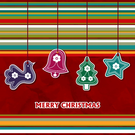 cristmas card: Cristmas card with toys - vector illustration