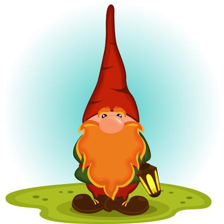 enano: gnome con una barba roja - ilustración vectorial