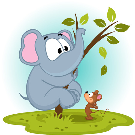 huge: elephant and mouse - vector illustration Illustration