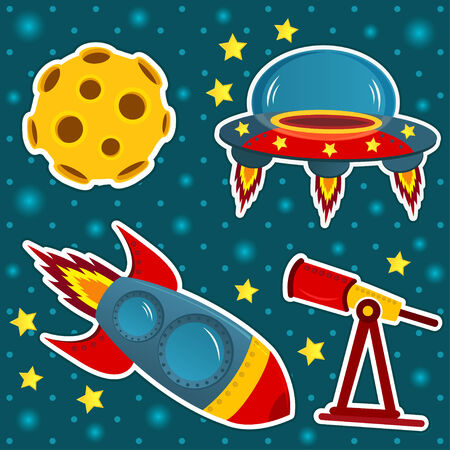 booster: icon set space - vector illustration