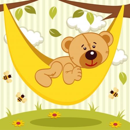 teddy bear on hammock - vector illustration Vector