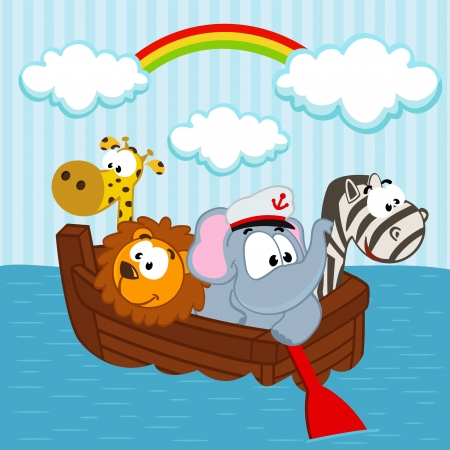 sailor hat: animals in the boat - vector illustration Illustration