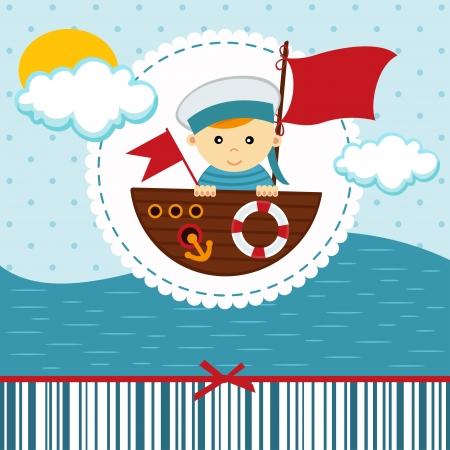 baby boy sailor - vector illustration