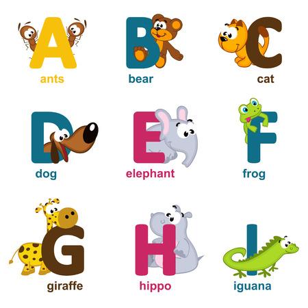 alfabeto con animales: animales del alfabeto de la A a I - ilustración vectorial Vectores