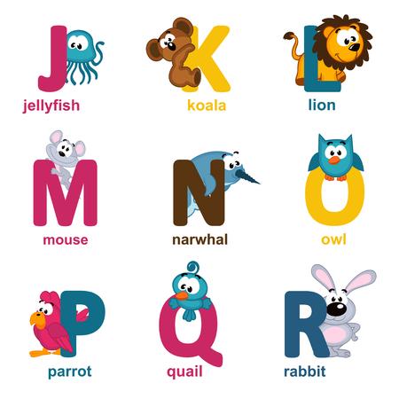 alphabet animaux: animaux de l'alphabet de J � R - illustration vectorielle
