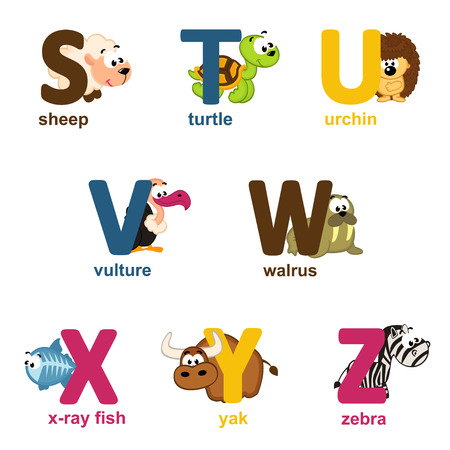 alphabet animals from S to Z - vector illustration Vectores