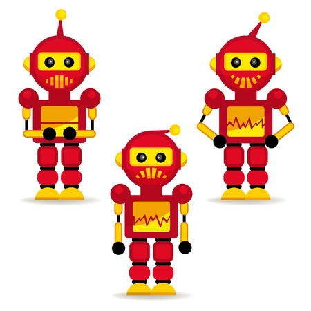collection robots in action - vector illustration Stock Vector - 24596304