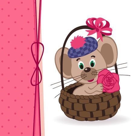 gnawer: mouse in a basket - vector ilustration Illustration