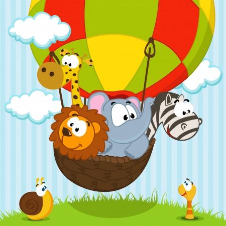 gusano caricatura: animales que viajan en globo - vector ilustrativa