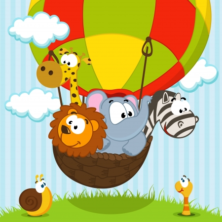 animals traveling by balloon - vector ilustration Illustration