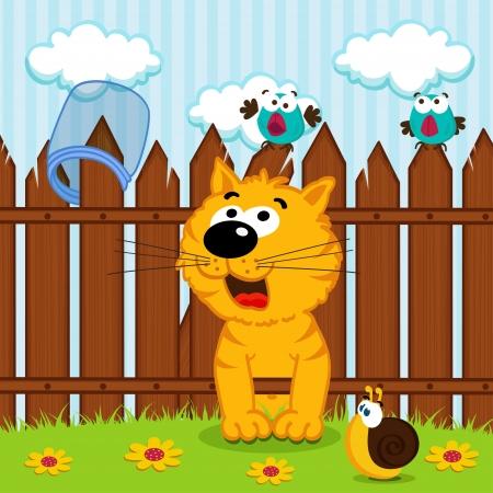 kitten passes through the wooden fence