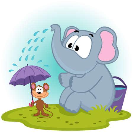 rata caricatura: elefante vierte el agua en el rat�n - ilustraci�n vectorial