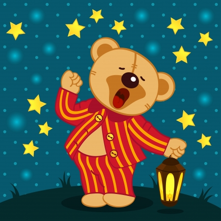 teddy bear in pajamas yawns - vector illustration