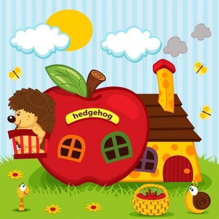 hedgehog in house of apples -  vector illustration