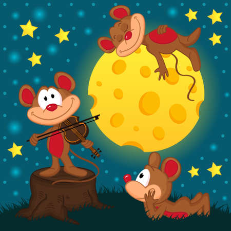 mouse with violin on a stump under the moon - vector illustration Vector