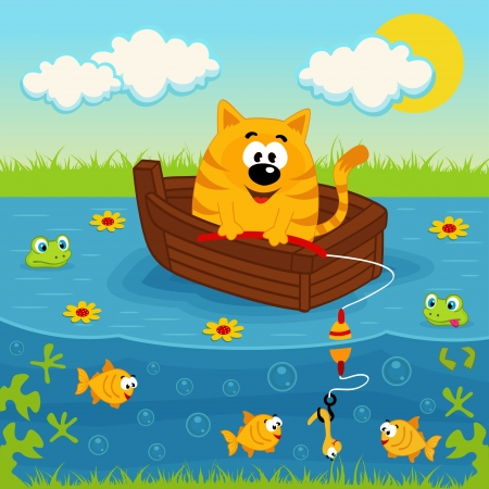 Cat on a boat fishing in a pond - vector illustration Vector