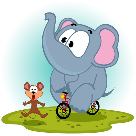 elephant  on bike catches mouse - vector illustration Vector